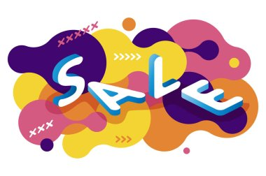 Vector abstract isometric sale web banner on fluid background