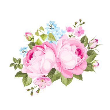 A spring decorative bouquet of roses flowers.