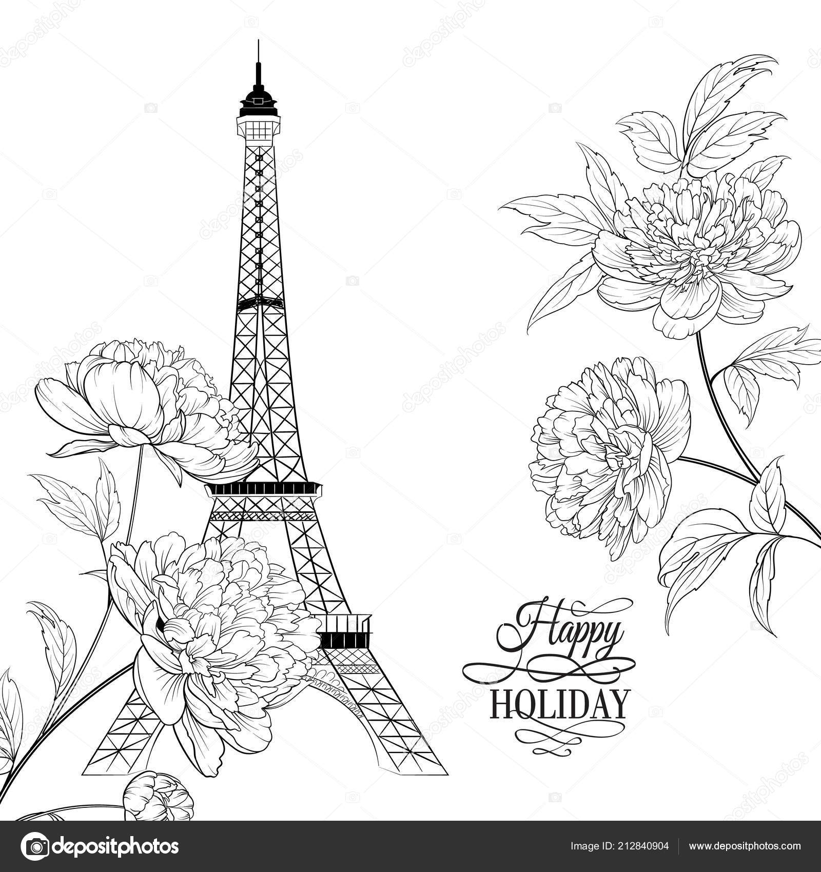 Eiffel Tower Wedding Invitations: Wedding Invitation Card Template. Eiffel Tower Simbol With