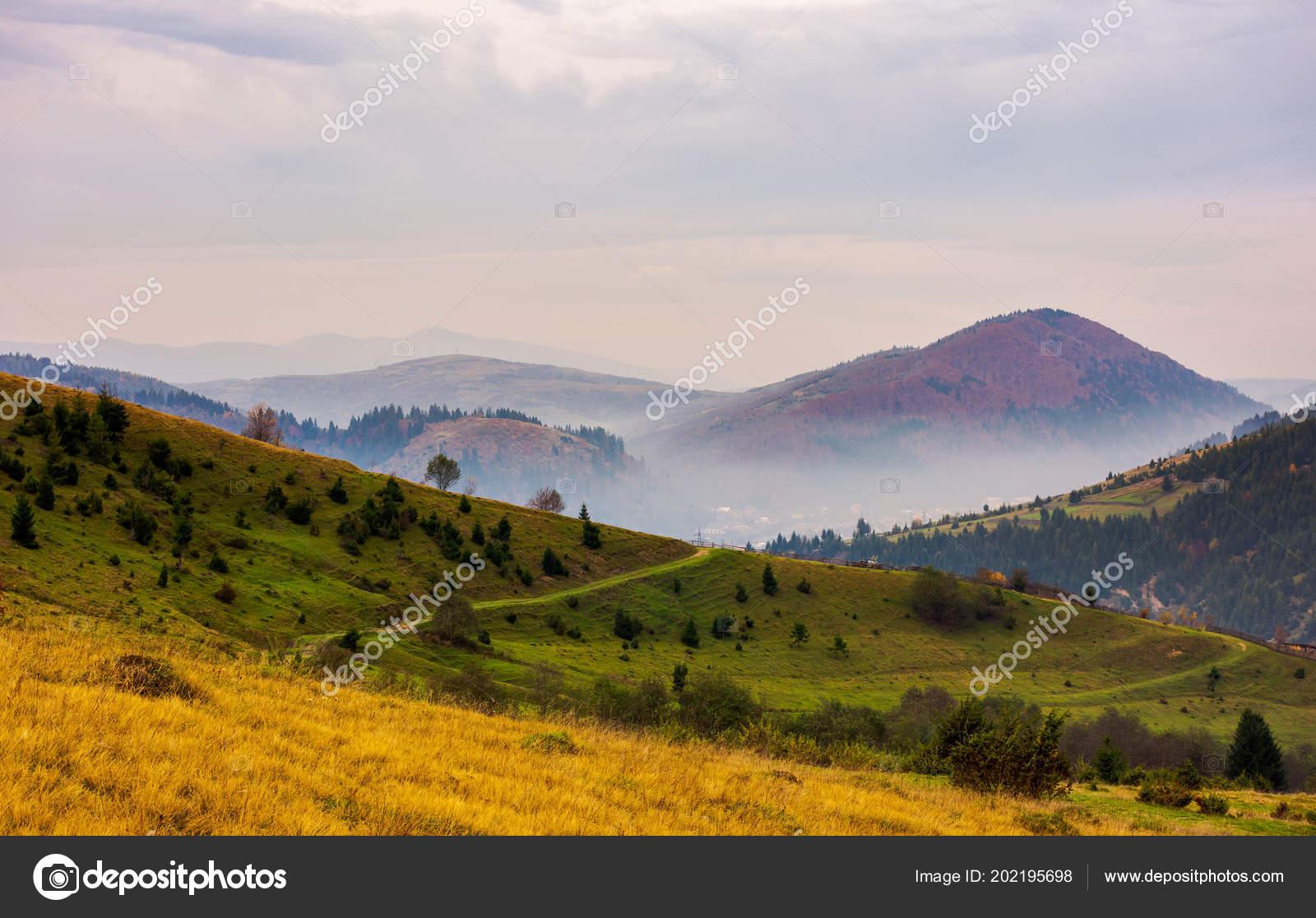 Beautiful Mountainous Area Late Autumn Foggy Overcast