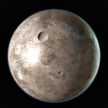 Ceres Dwarf planet isolated on black background. 3D illustration.