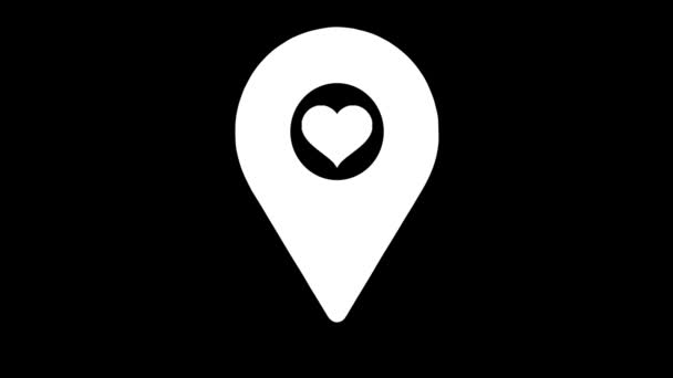 Location heart sign. Map pointer icon animation - 4K
