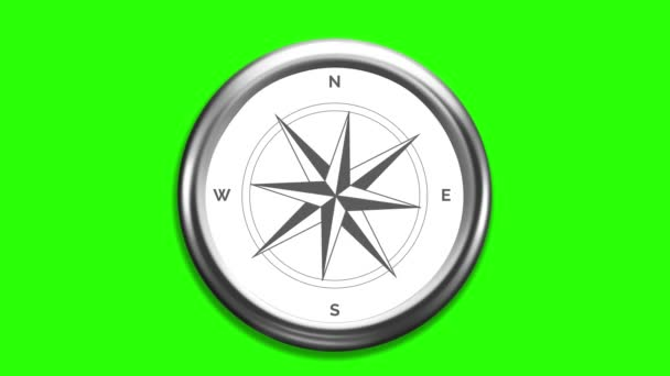 Wind rose compass with spinning pointers on green screen. 4K