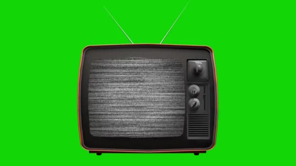 Static noise on a vintage old TV with green screen background