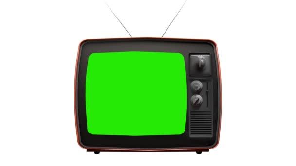 Vintage TV televízió zöld képernyő. Nagyítás zöld képernyő egy régi televíziós Vintage stílusban