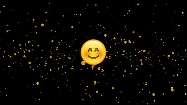 Animace úsměvu se náhodně vznáší na černém pozadí. 4k