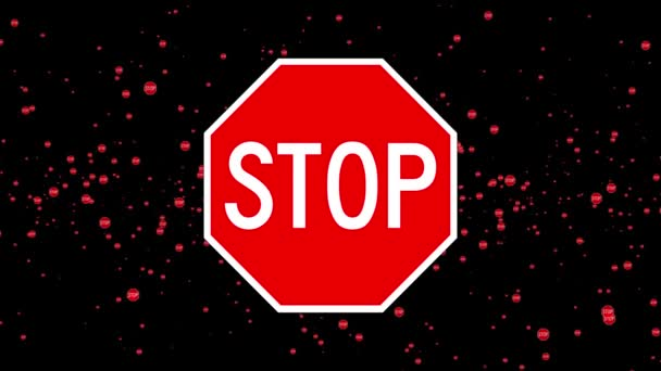 Animation of stop sign floating around randomly, against a black background. 4K