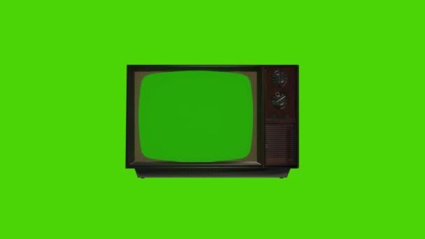 Régi Vintage Televízió zöld képernyős zoommal. 80-as évek Televízió zöld képernyővel