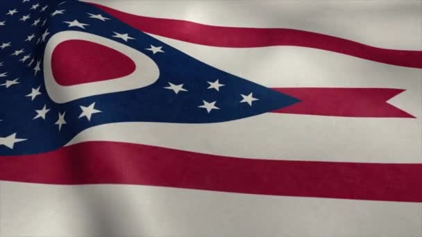 Flag of Ohio video waving in wind. Realistic US State flag background