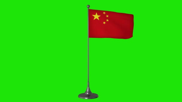 China small flag fluttering on a flagpole. Green screen background, 4K