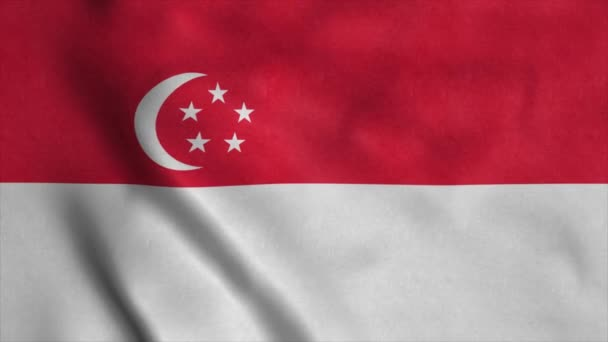 Singapore flag waving on wind seamless loop 3d animation. 4K
