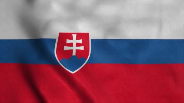 Slovenská vlajka vlající ve větru s vysoce kvalitní texturou. Národní vlajka Slovenska