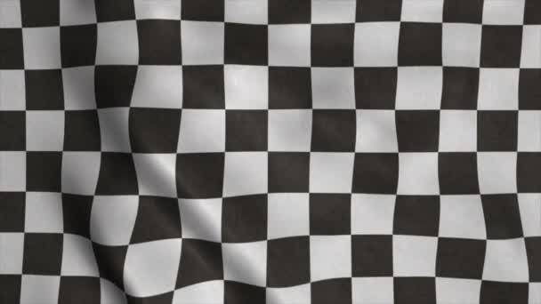 Karierte Rennflagge. Renn-Fahne weht im Wind