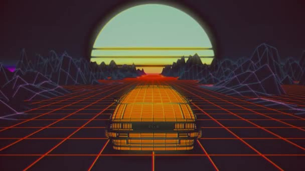 Retro futuristické bezešvé animace auta se sluncem v pozadí