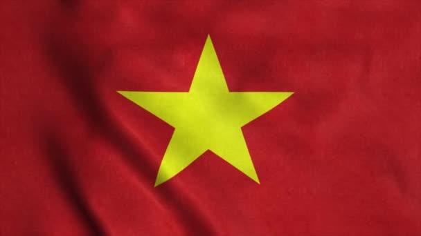 Vietnam flag waving in the wind. National flag of Vietnam. 4K