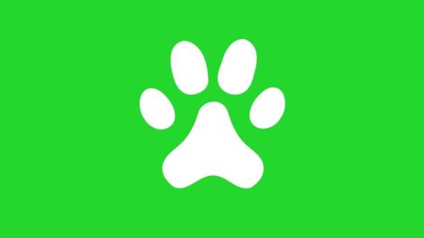 Animált állat mancsos ikon. Chroma kulcs, zöld képernyő háttér
