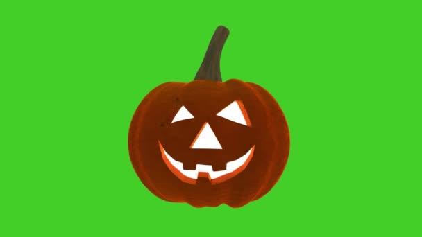 Halloween Funny Pumpkin na zeleném pozadí