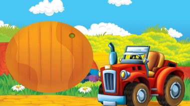 cartoon happy and sunny farm scene with tractor for different tasks - illustration for children