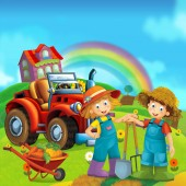 Fotografie kreslený scény s happy malými dětmi na farmě - s traktorem pro různé úkoly - ilustrace pro děti