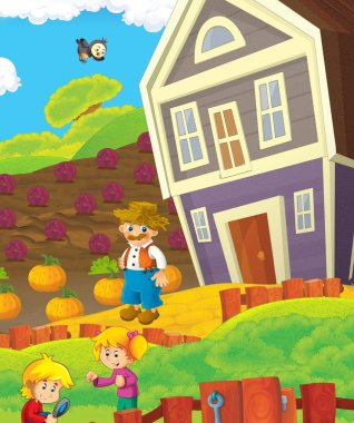 cartoon happy nad sunny farm scene with tractor for different usage - illustration for children