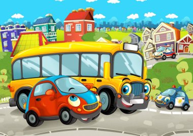 cartoon scene with happy vehicles on the street driving through the city - illustration for children