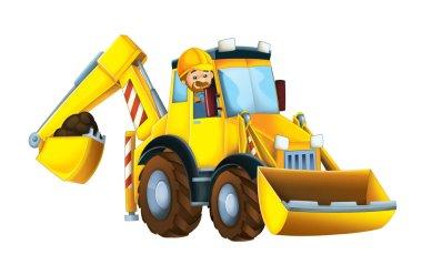 cartoon scene with worker in excavator - on white background - illustration for children