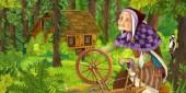 Fényképek rajzfilm jelenet idősebb nő, az erdő közelében rejtett faház - illusztrációja-gyermekeknek