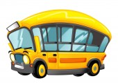 Photo funny looking cartoon yellow bus with pupils - illustration for children