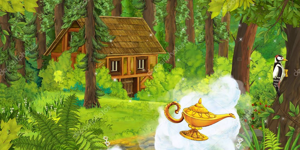 cartoon scene with magic lamp flying over the ground in the forest near some hidden wooden house - illustration for children