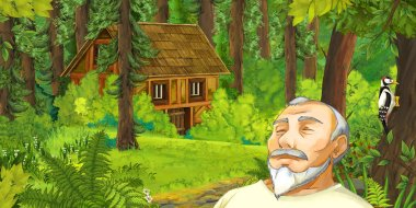 cartoon scene with sleeping old man in the forest near some hidden wooden house - illustration for children