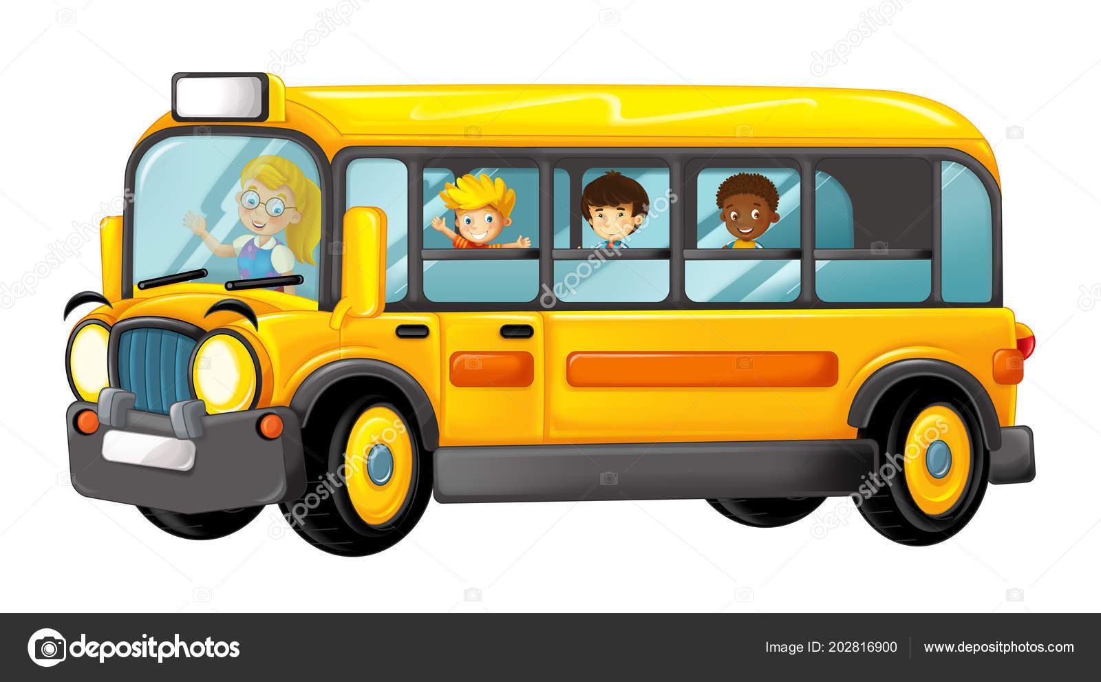 Bus Funny Cartoon Jaune Regardant Avec Eleves Illustration Pour Les