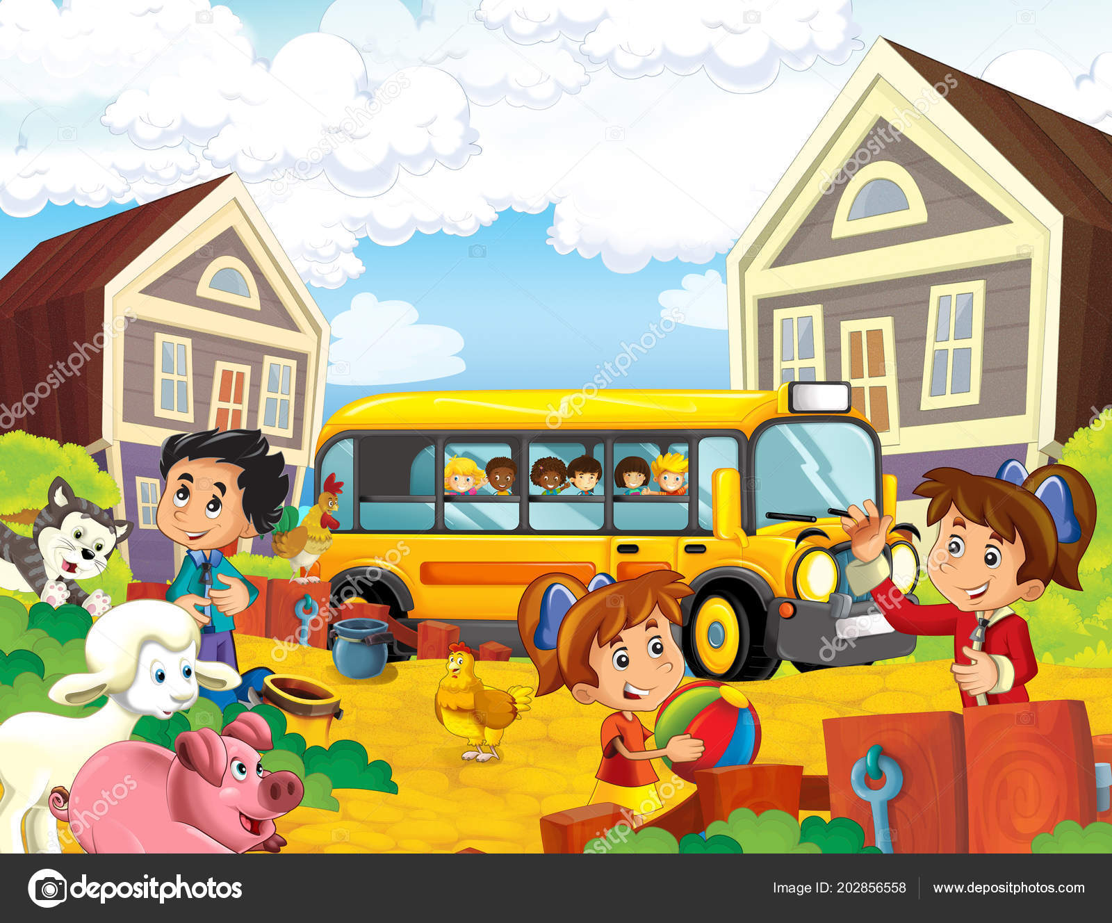 Cartoon Scene Kids Having Good Time Farm School Bus Illustration