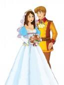 Kreslený manželský pár šťastný spolu - ilustrace pro děti