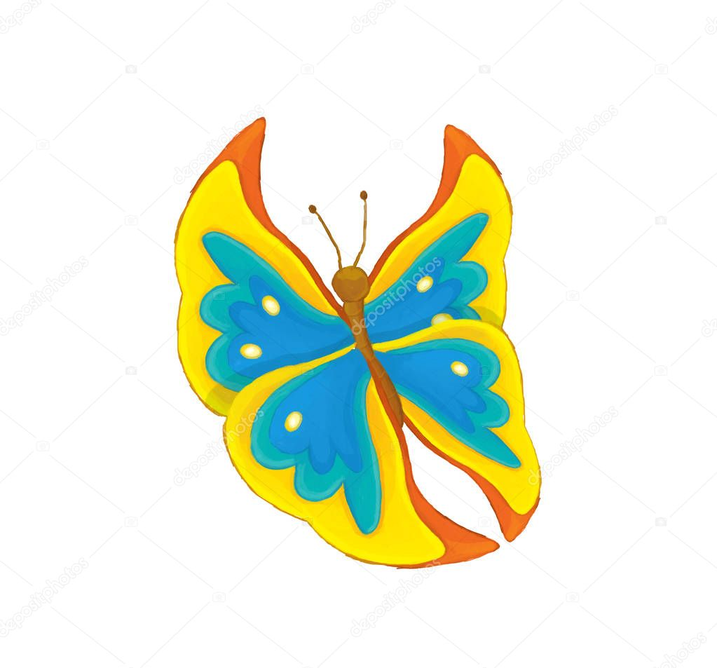 cartoon scene with flying butterfly - on white background - illustration for children