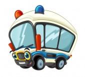 Photo cartoon scene with happy ambulance truck on white background - illustration for children