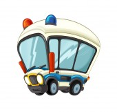 Photo cartoon scene with happy ambulance truck on white background - illustration for children