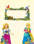 Fotografie cartoon scene with floral frame - beautiful girls - princesses - title page with space for text - illustration for children