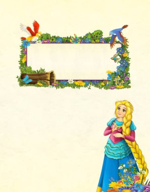 cartoon scene with floral frame - beautiful girl - princess - title page with space for text - illustration for children