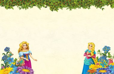 cartoon scene with floral frame - beautiful girls - princesses - title page with space for text -  illustration for children