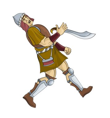 cartoon scene with soldier fighting on white background - illustration for children