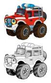 Fotografie kreslený Legrační z náklaďáku hasič road vypadá jako monster truck izolované - barevné stránky