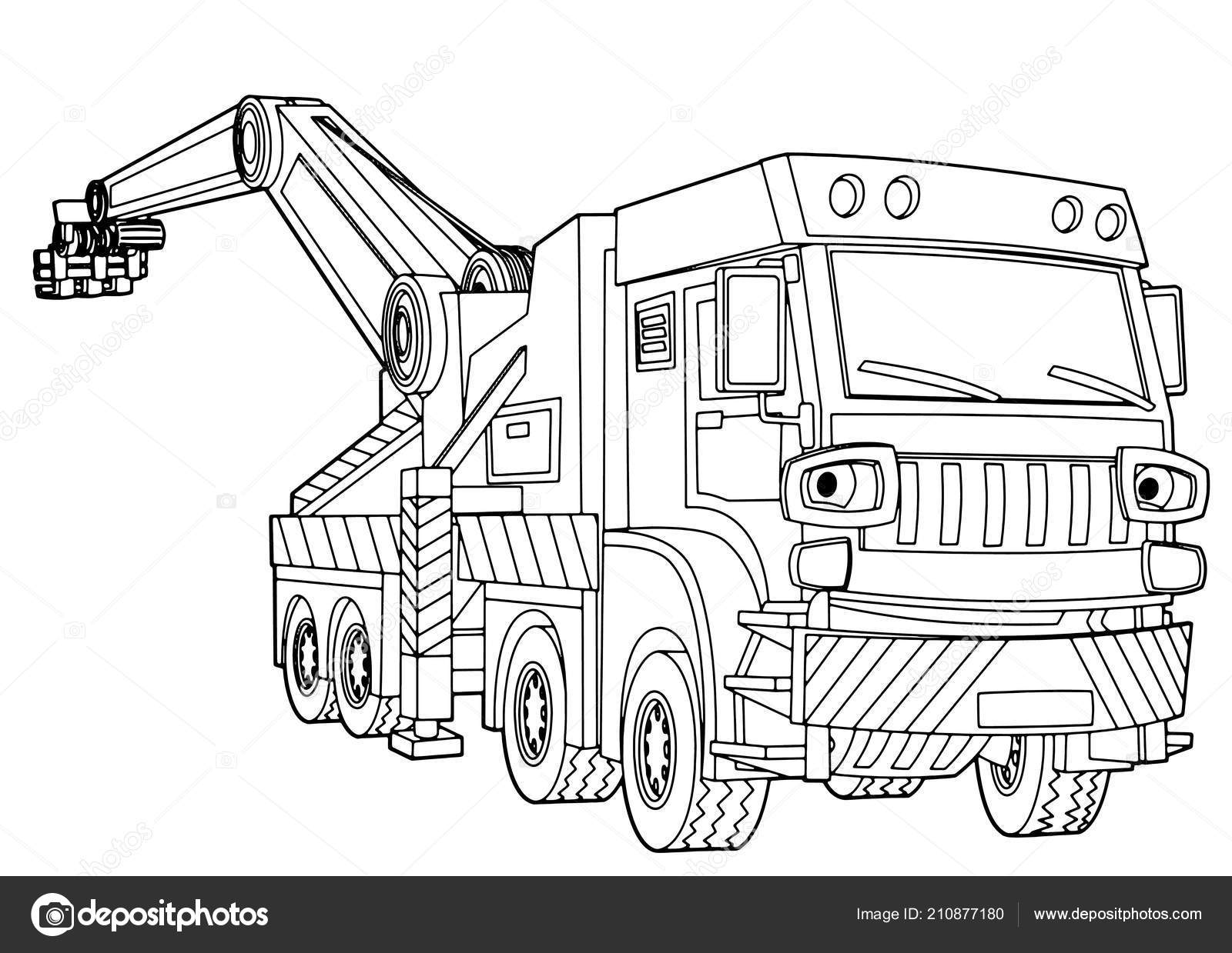 Cartoon Happy Truck Coloring Page Isolated Vector Illustration