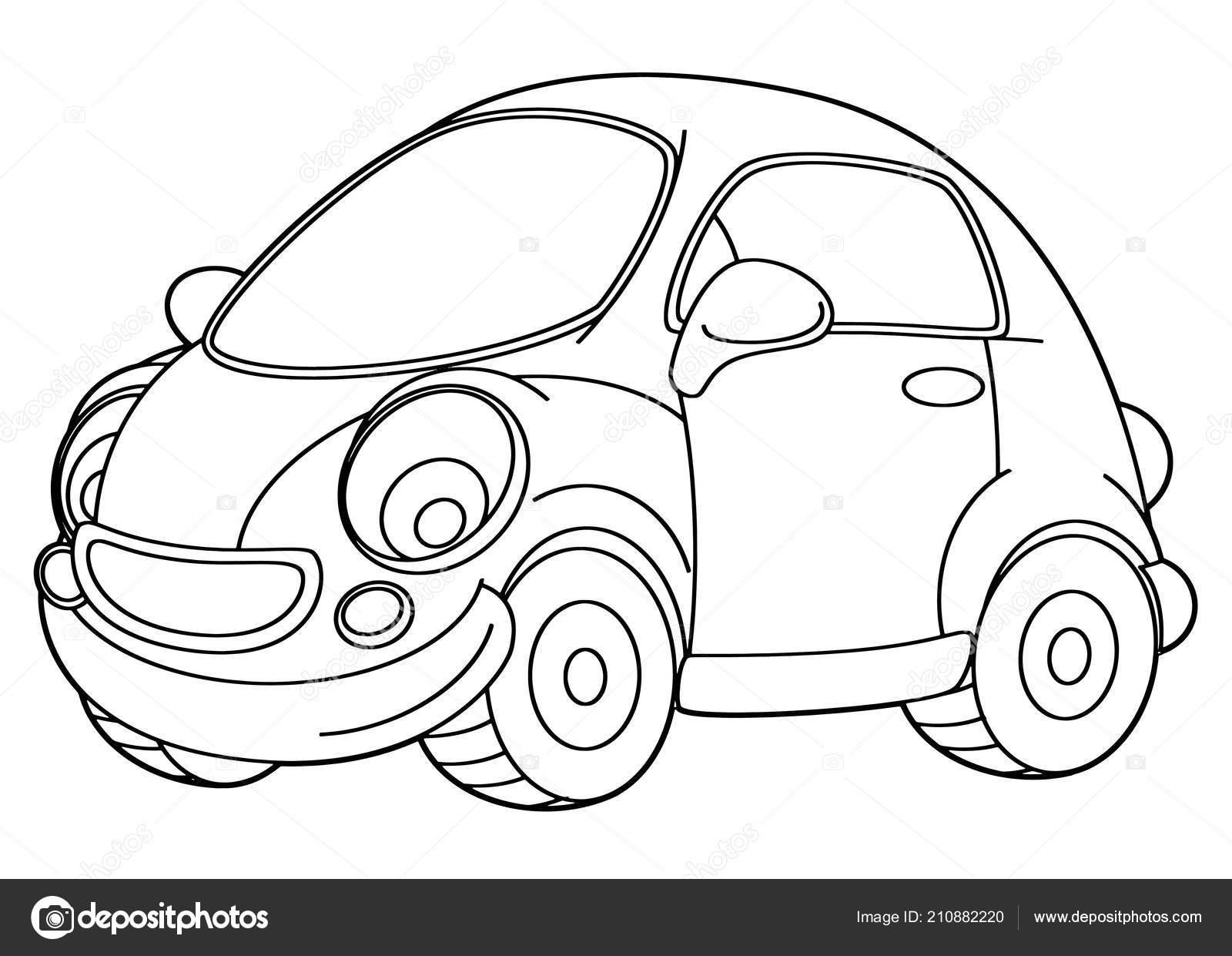 Vektör Sayfa Boyama Araba çizim çocuklar Için çizgi Film Sahne