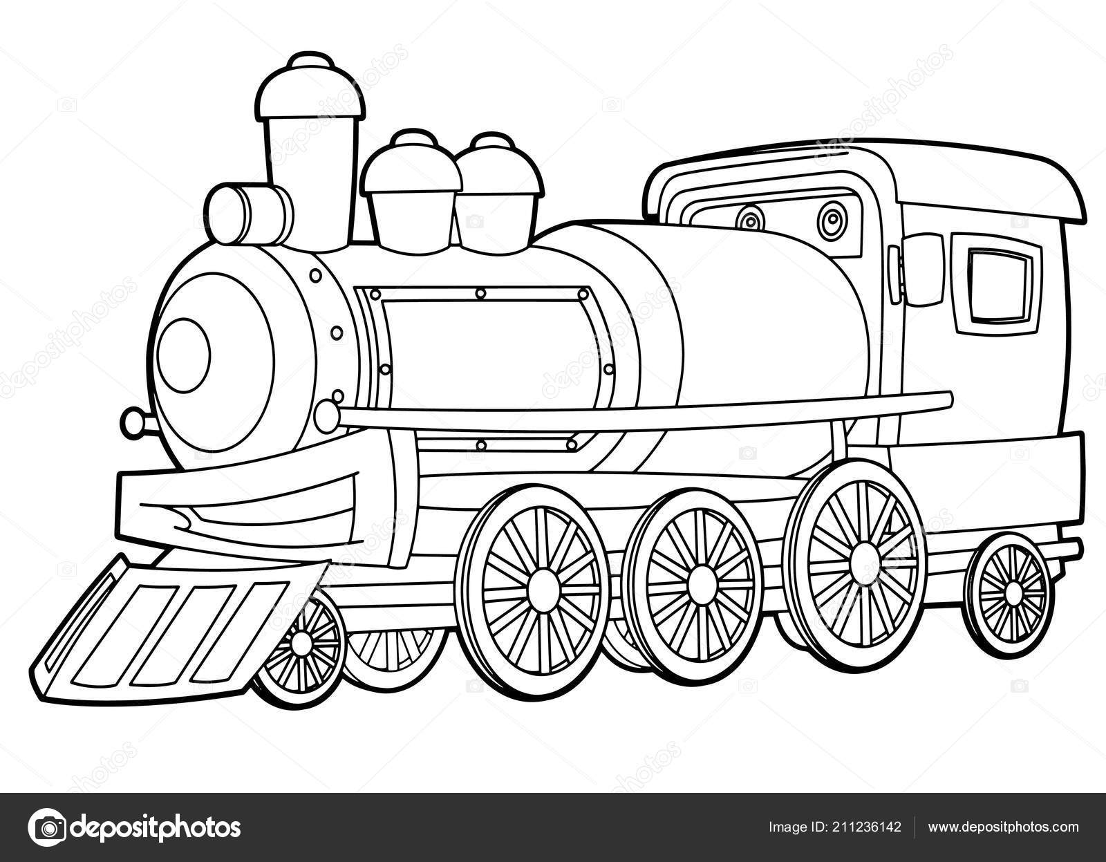 Cartoon Funny Looking Steam Train Vector Coloring Page Isolated