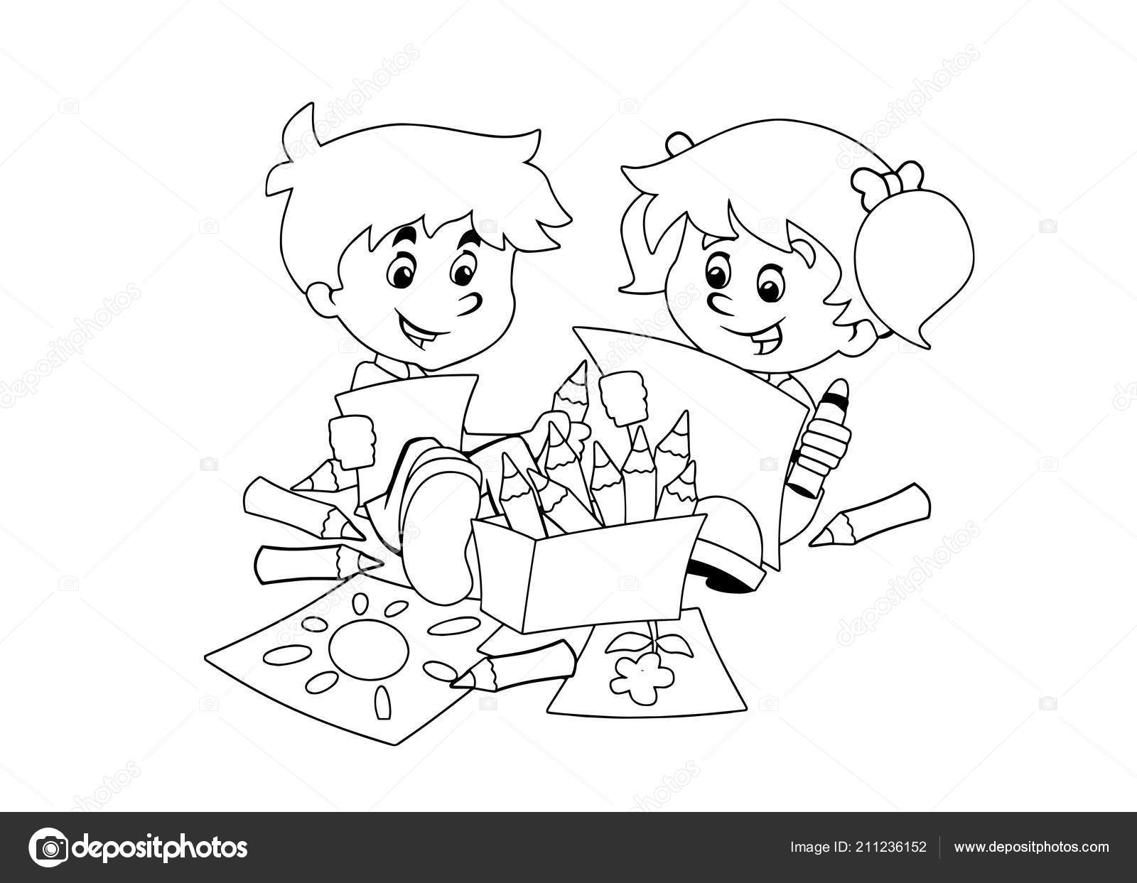 Cartoon Scene Kids Drawing Coloring Vector Coloring Page White