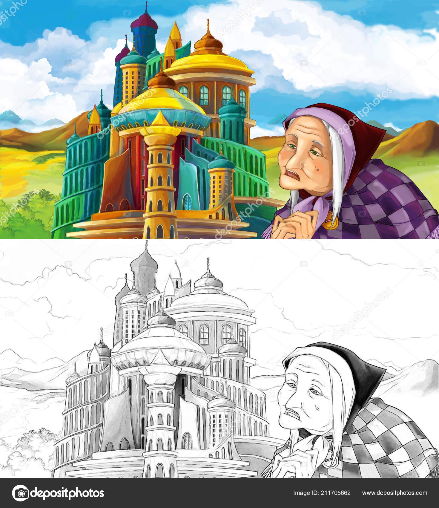Coloriage Chateau Sorciere.Dessin Anime Scene Avec Une Femme Agee Sorciere Pres Beau