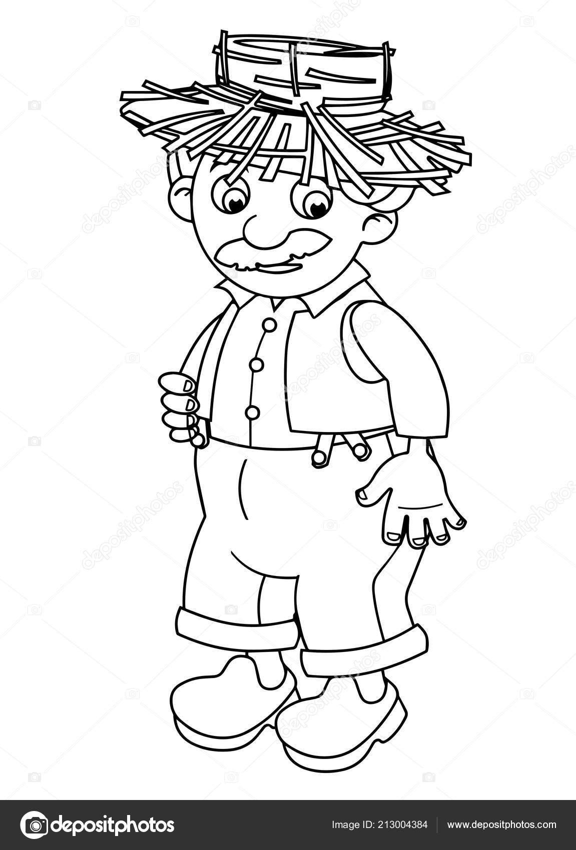 Escena Dibujos Animados Con Granjero Feliz Pie Mirando Ilustración