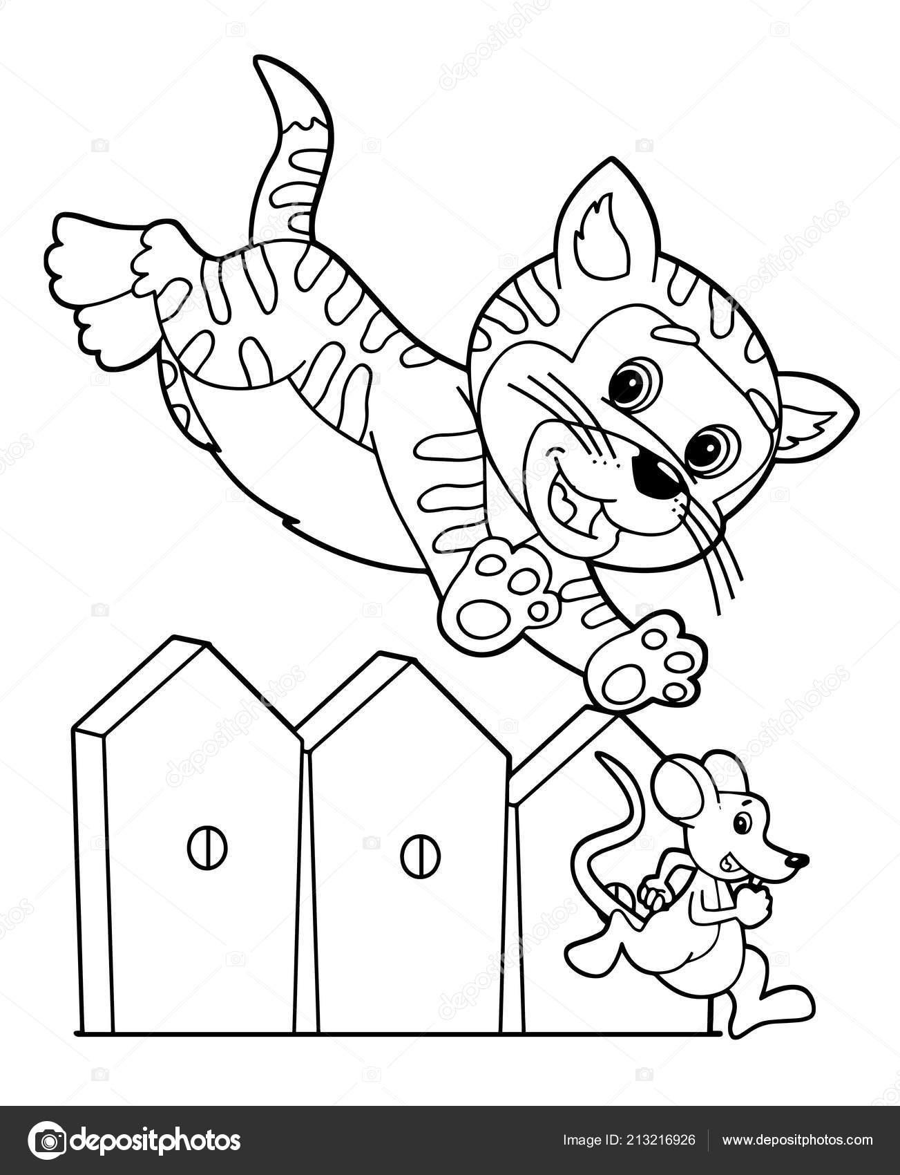 Cartoon Scene Happy Cat Jumping Wooden Fence Chasing Mouse White Stock Vector C Illustrator Hft 213216926