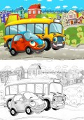 Photo cartoon scene with different cars driving on the city street small car and school bus - with artistic coloring page - illustration for children