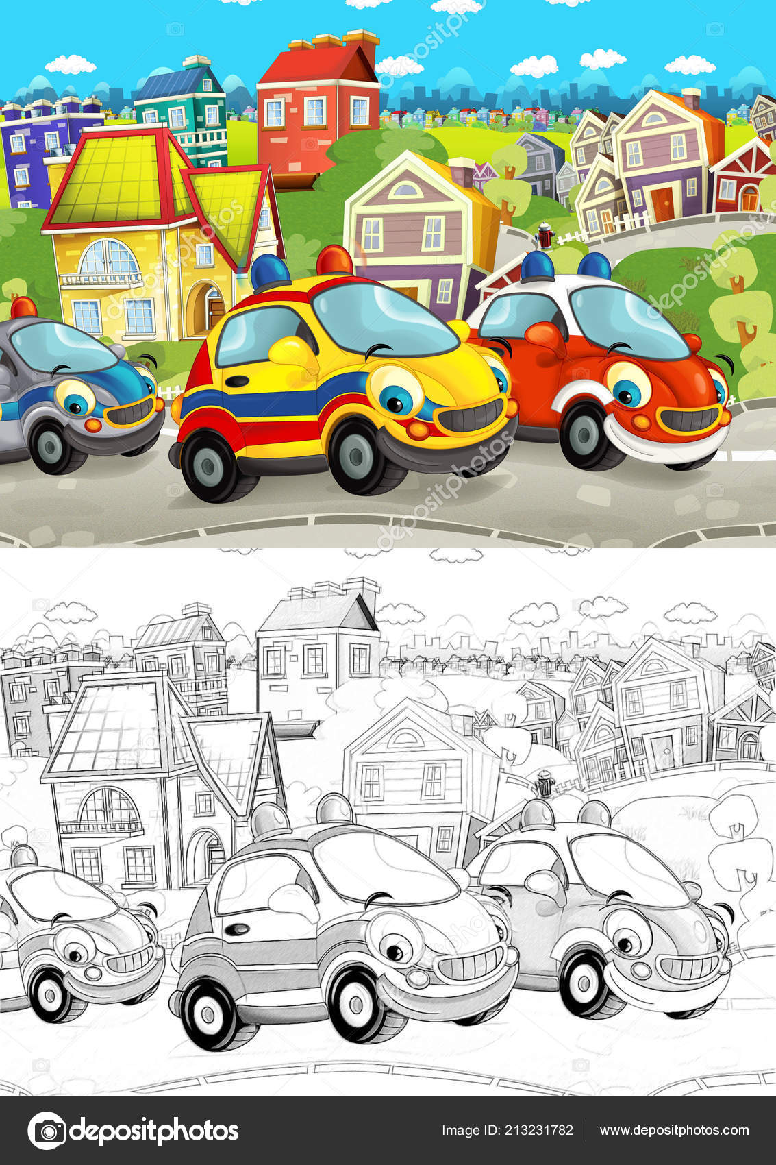 Cartoon Scene Different Cars Driving City Street Artistic Coloring